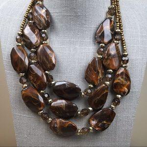Jewelry - Chunky brown and caramel triple strand necklace